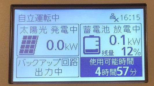 蓄電池で停電した時の自自立運転の画面